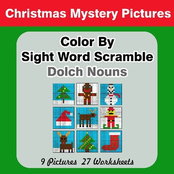 Color By Sight Word Scramble - Christmas Mystery Pictures - Dolch Nouns