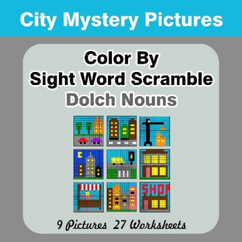 Color By Sight Word Scramble - City Mystery Pictures - Dolch Nouns
