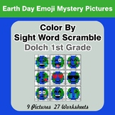 Color By Sight Word Scramble: Earth Day Emoji Mystery Pictures - Dolch 1st Grade