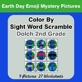 Color By Sight Word Scramble: Earth Day Emoji Mystery Pictures - Dolch 2nd Grade