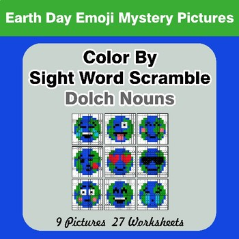 Color By Sight Word Scramble - Earth Day Emoji Mystery Pictures - Dolch Nouns