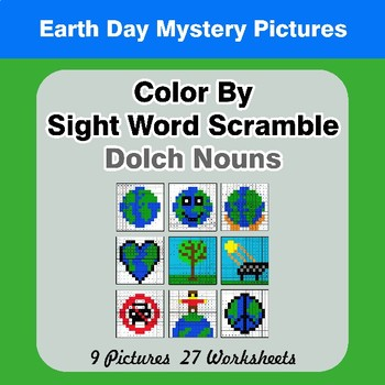 Color By Sight Word Scramble - Earth Day Mystery Pictures - Dolch Nouns