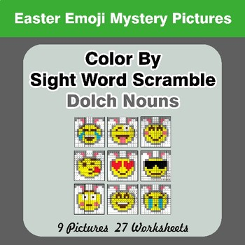 Color By Sight Word Scramble - Easter Emoji Mystery Pictures - Dolch Nouns