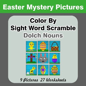 Color By Sight Word Scramble - Easter Mystery Pictures - Dolch Nouns