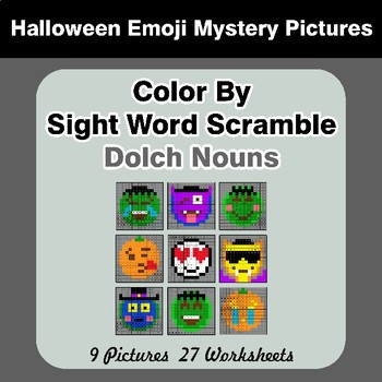 Color By Sight Word Scramble - Halloween Emoji Mystery Pictures - Dolch Nouns