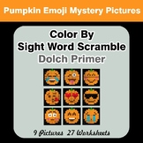 Color By Sight Word Scramble - Halloween Emoji Mystery Pic