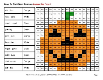 Color By Sight Word Scramble - Halloween Mystery Pictures - Dolch Nouns