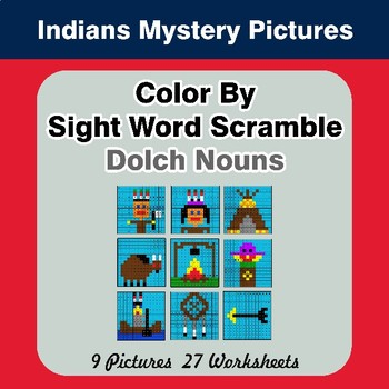 Color By Sight Word Scramble - Indians Mystery Pictures - Dolch Nouns