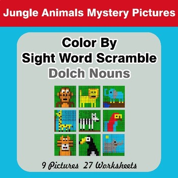 Color By Sight Word Scramble - Jungle Animals Mystery Pictures - Dolch Nouns
