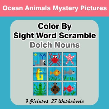 Color By Sight Word Scramble - Ocean Animals Mystery Pictures - Dolch Nouns