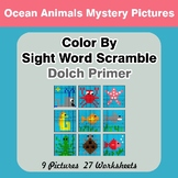 Color By Sight Word Scramble - Ocean Animals Mystery Pictu
