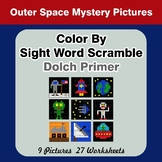 Color By Sight Word Scramble - Outer Space Mystery Picture