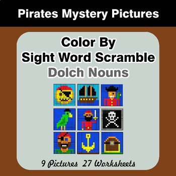 Color By Sight Word Scramble - Pirates Mystery Pictures - Dolch Nouns