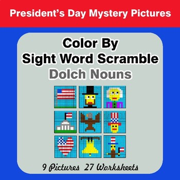 Color By Sight Word Scramble - President's Day Mystery Pictures - Dolch Nouns