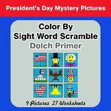Color By Sight Word Scramble - President's Day Mystery Pic