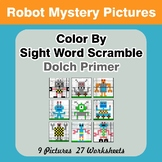 Color By Sight Word Scramble - Robots Mystery Pictures - D