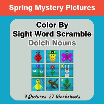 Color By Sight Word Scramble - Spring Mystery Pictures - Dolch Nouns