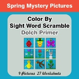 Color By Sight Word Scramble - Spring Mystery Pictures - D