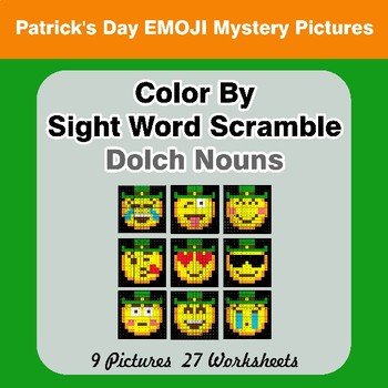 Color By Sight Word Scramble - St. Patrick's Day Mystery Pictures - Dolch Nouns