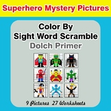 Color By Sight Word Scramble - Superhero Mystery Pictures