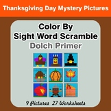 Color By Sight Word Scramble - Thanksgiving Mystery Pictur