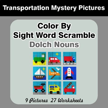 Color By Sight Word Scramble - Transportation Mystery Pictures - Dolch Nouns