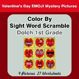 Color By Sight Word Scramble - Valentine's Day Emoji - Dolch 1st Grade