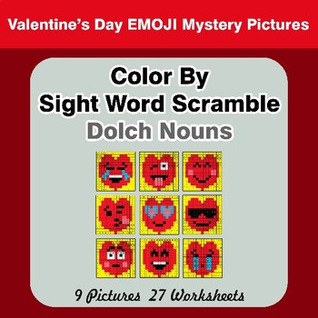 Color By Sight Word Scramble - Valentine's Day Mystery Pictures - Dolch Nouns