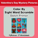 Color By Sight Word Scramble - Valentine's Day Mystery Pic