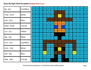 Color By Sight Word Scramble - Western Mystery Pictures - Dolch Nouns