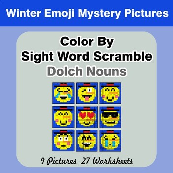 Color By Sight Word Scramble - Winter Emoji Mystery Pictures - Dolch Nouns