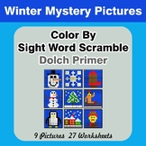Color By Sight Word Scramble - Winter Mystery Pictures - D
