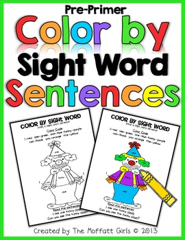 Color By Sight Word Sentences (The Pre-Primer Edition)