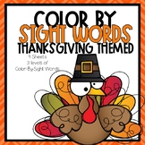 Color-By-Sight Word Thanksgiving Themed
