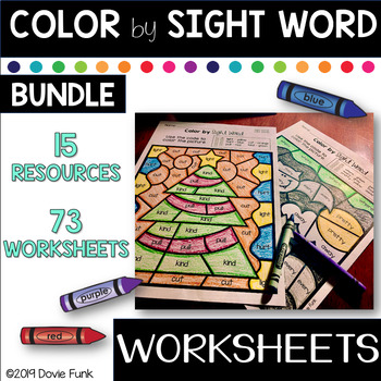 Sight Word Practice Worksheets Color by Code Bundle Morning Work