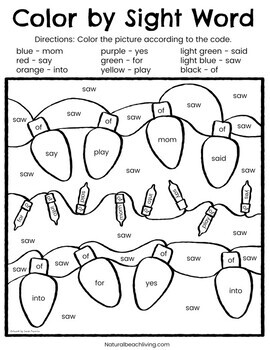 Color By Sight Words Christmas Kindergarten Worksheets | TpT