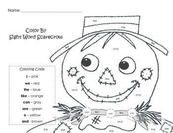 Scarecrow Color By: SIGHT WORDS