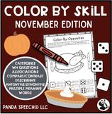 Color-By-Skill NO-Prep Language Pack! November Edition