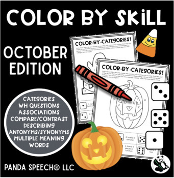 Color-By-Skill NO-Prep Language Pack! October Edition