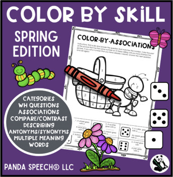 Color-By-Skill NO-Prep Language Pack! Spring Edition