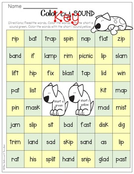 Color By Sound! {short a & short i phonics printable}