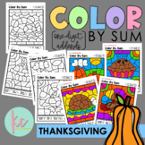 Color By Sum (1-Digit Addends): Thanksgiving Edition