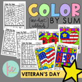 Color By Sum (1-Digit Addends): Veteran's Day Edition
