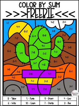 Color By Sum - Cactus FREEBIE
