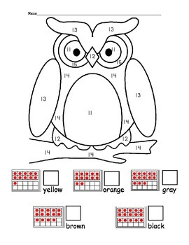 Color By Teen Number Owl - double ten frame