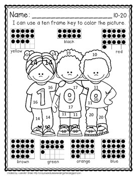 100th Day Color By Ten Frame