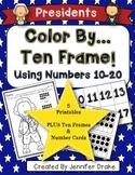 Color By Ten Frame #s10-20! Presidents Day Version! Printables & Frame/# Cards