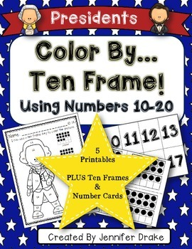 Color By Ten Frame #s10-20! Presidents Day Version! Printables & Frame/# Cards