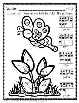 Color By Ten Frame #s10-20!  Spring Version! Printables, 10 Frames & # Cards!