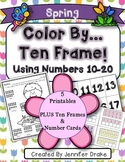 Color By Ten Frame #s10-20!  Spring Version! Printables, 10 Frames & # Cards!